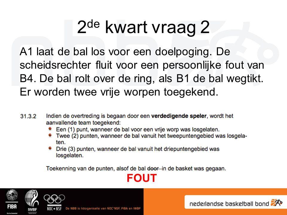 2 de kwart vraag 2 A1 laat de bal los voor een doelpoging. De scheidsrechter fluit voor een persoonlijke fout van B4. De bal rolt over de ring, als B1