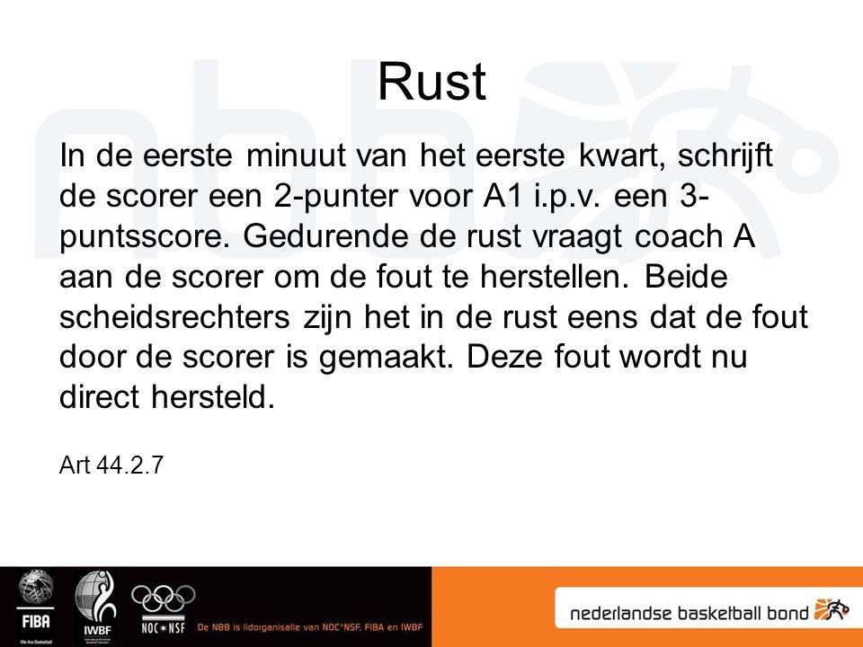 Rust In de eerste minuut van het eerste kwart, schrijft de scorer een 2-punter voor A1 i.p.v.