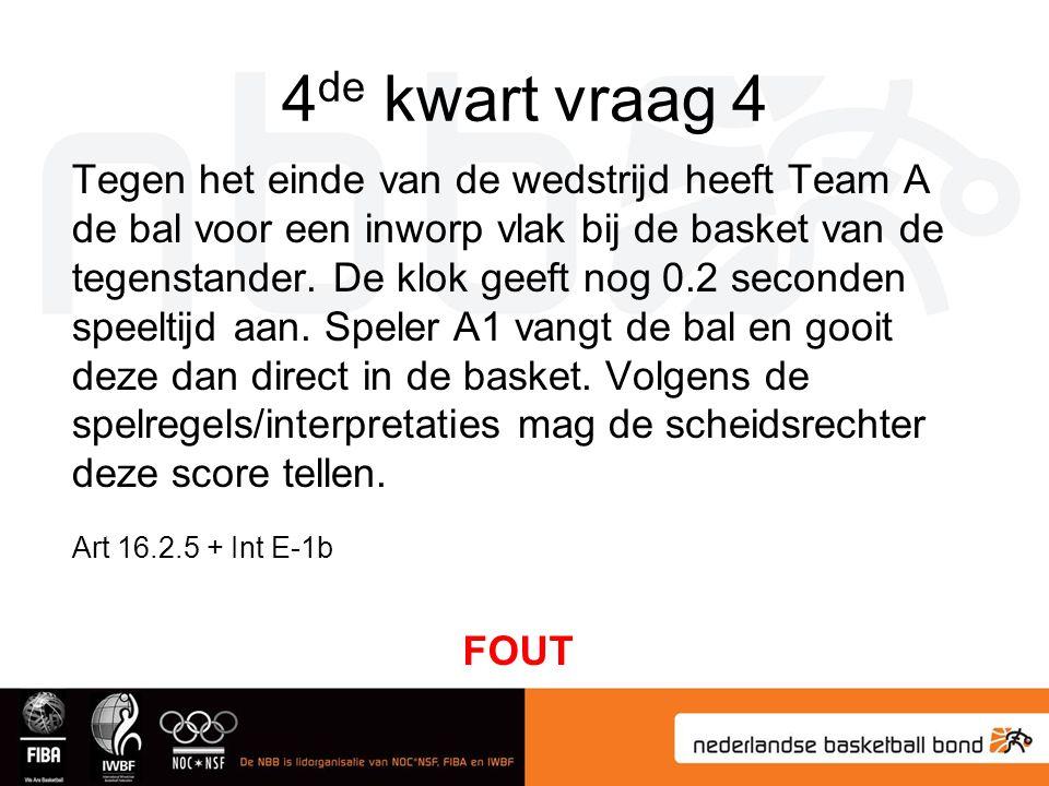 4 de kwart vraag 4 Tegen het einde van de wedstrijd heeft Team A de bal voor een inworp vlak bij de basket van de tegenstander. De klok geeft nog 0.2