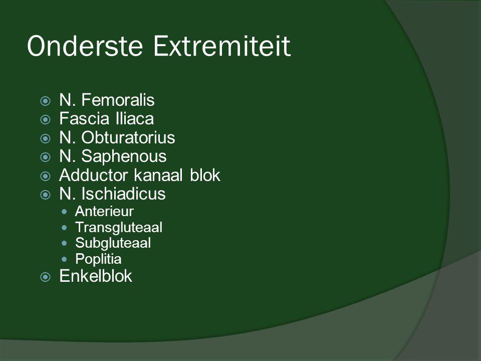 Onderste Extremiteit  N. Femoralis  Fascia Iliaca  N. Obturatorius  N. Saphenous  Adductor kanaal blok  N. Ischiadicus  Anterieur  Transglutea