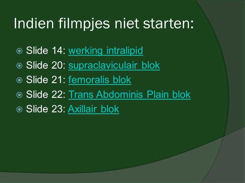 Indien filmpjes niet starten:  Slide 14: werking intralipidwerking intralipid  Slide 20: supraclaviculair bloksupraclaviculair blok  Slide 21: femo