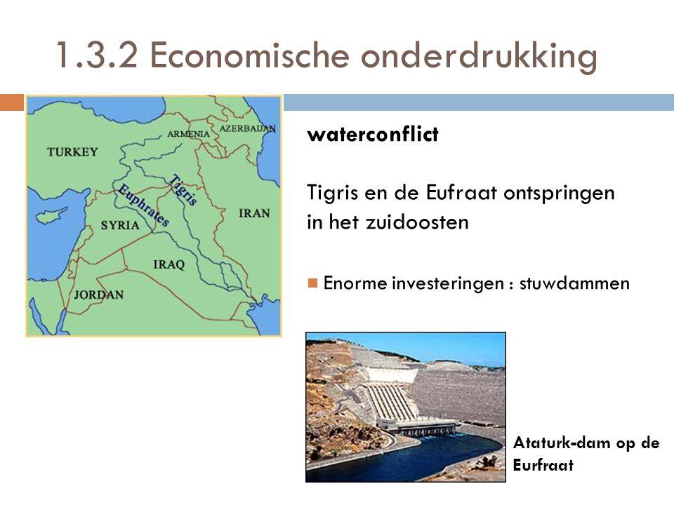 waterconflict Tigris en de Eufraat ontspringen in het zuidoosten  Enorme investeringen : stuwdammen Ataturk-dam op de Eurfraat