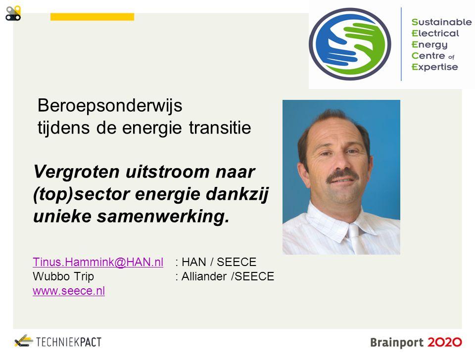 © Brainport Development, 2014 De kracht van samenwerking 2 Beroepsonderwijs tijdens de energie transitie Vergroten uitstroom naar (top)sector energie