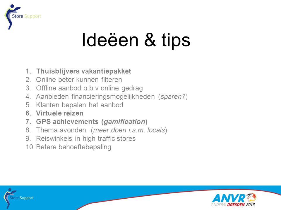 Ideëen & tips 1.Thuisblijvers vakantiepakket 2.Online beter kunnen filteren 3.Offline aanbod o.b.v online gedrag 4.Aanbieden financieringsmogelijkhede