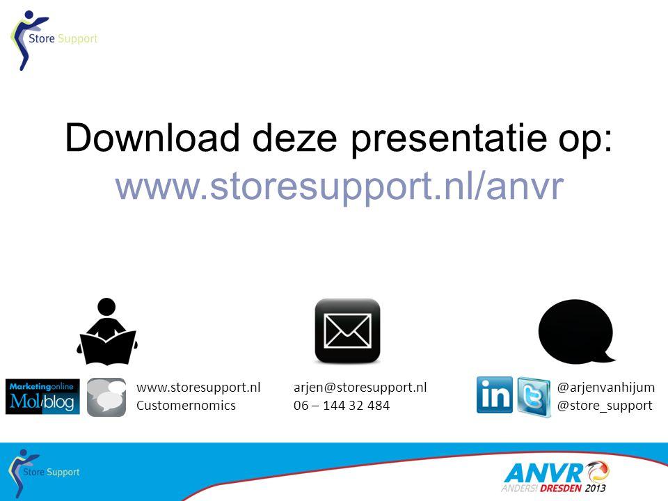 Download deze presentatie op: www.storesupport.nl/anvr arjen@storesupport.nl 06 – 144 32 484 @arjenvanhijum @store_support www.storesupport.nl Custome