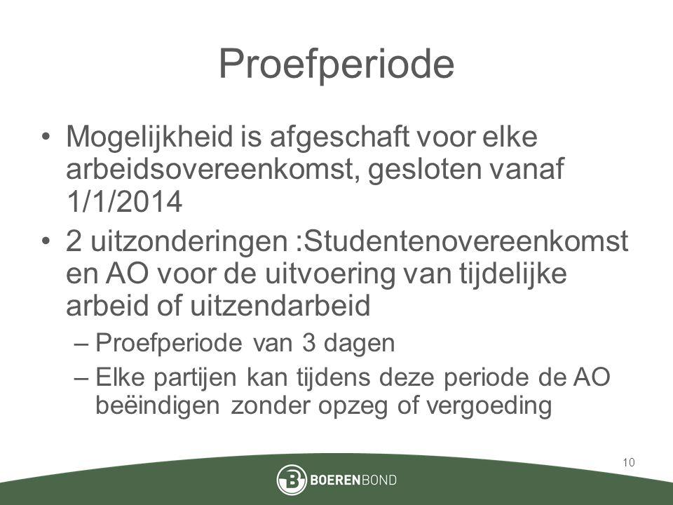 Proefperiode •Mogelijkheid is afgeschaft voor elke arbeidsovereenkomst, gesloten vanaf 1/1/2014 •2 uitzonderingen :Studentenovereenkomst en AO voor de