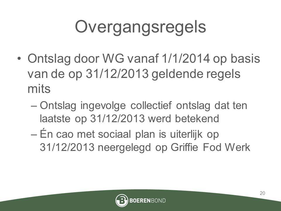 Overgangsregels •Ontslag door WG vanaf 1/1/2014 op basis van de op 31/12/2013 geldende regels mits –Ontslag ingevolge collectief ontslag dat ten laats