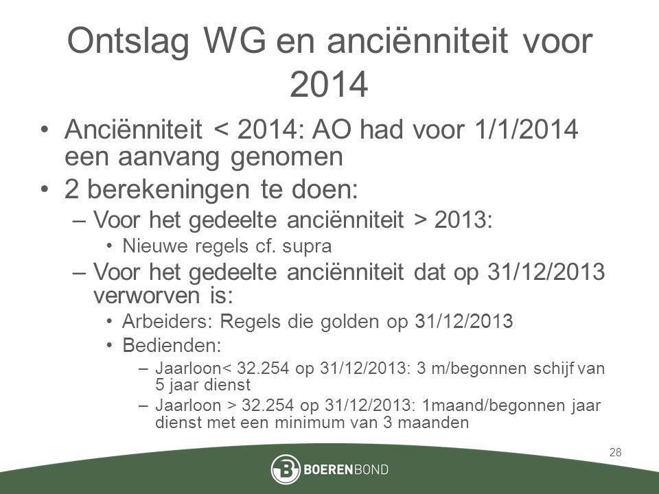 Ontslag WG en anciënniteit voor 2014 •Anciënniteit < 2014: AO had voor 1/1/2014 een aanvang genomen •2 berekeningen te doen: –Voor het gedeelte anciënniteit > 2013: •Nieuwe regels cf.