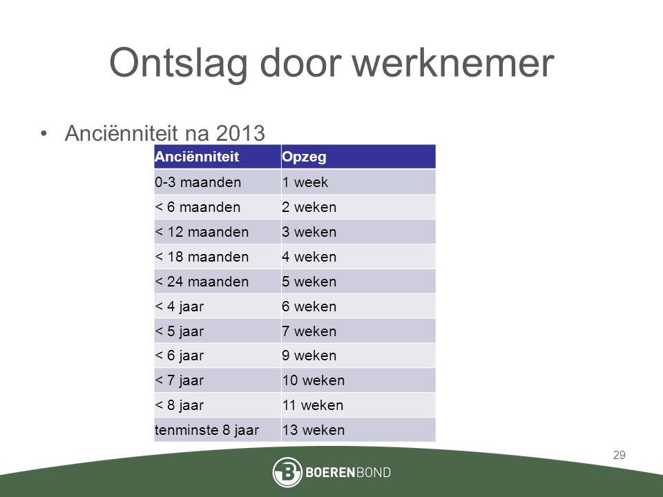 Ontslag door werknemer •Anciënniteit na 2013 29 AnciënniteitOpzeg 0-3 maanden1 week < 6 maanden2 weken < 12 maanden3 weken < 18 maanden4 weken < 24 ma