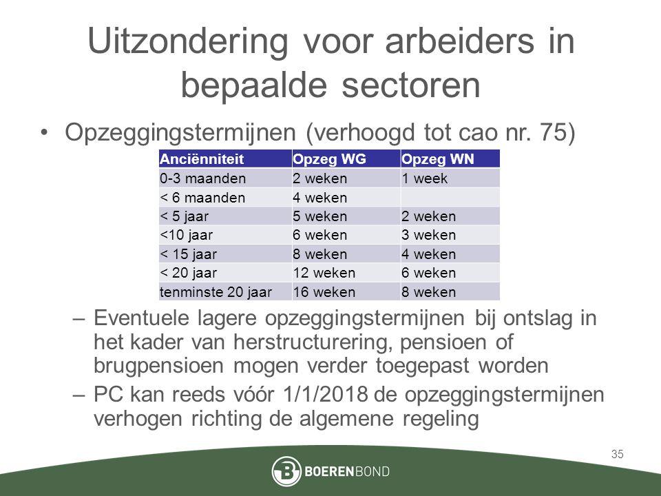 Uitzondering voor arbeiders in bepaalde sectoren •Opzeggingstermijnen (verhoogd tot cao nr. 75) –Eventuele lagere opzeggingstermijnen bij ontslag in h