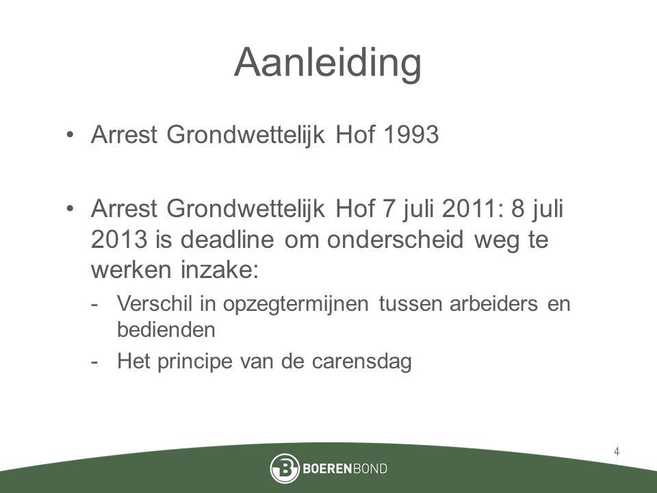 Aanleiding •Arrest Grondwettelijk Hof 1993 •Arrest Grondwettelijk Hof 7 juli 2011: 8 juli 2013 is deadline om onderscheid weg te werken inzake: -Versc