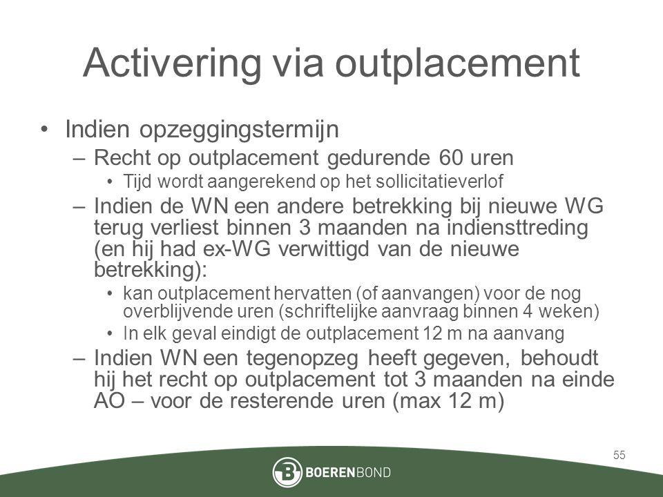 Activering via outplacement •Indien opzeggingstermijn –Recht op outplacement gedurende 60 uren •Tijd wordt aangerekend op het sollicitatieverlof –Indi