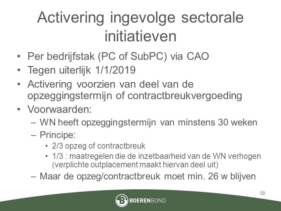 Activering ingevolge sectorale initiatieven •Per bedrijfstak (PC of SubPC) via CAO •Tegen uiterlijk 1/1/2019 •Activering voorzien van deel van de opzeggingstermijn of contractbreukvergoeding •Voorwaarden: –WN heeft opzeggingstermijn van minstens 30 weken –Principe: •2/3 opzeg of contractbreuk •1/3 : maatregelen die de inzetbaarheid van de WN verhogen (verplichte outplacement maakt hiervan deel uit) –Maar de opzeg/contractbreuk moet min.