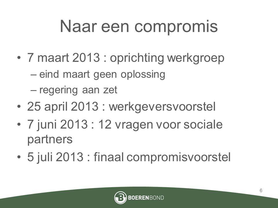 Compromisvoorstel 5 juli 2013 Compromis: •Voorstel Minister van Werk •Compromis is geen juridische tekst •Goedkeuring compromis op KERN Regering 8 juli 7