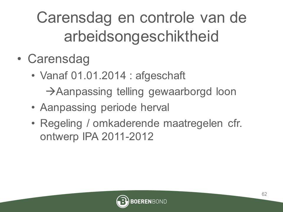 Carensdag en controle van de arbeidsongeschiktheid •Carensdag •Vanaf 01.01.2014 : afgeschaft  Aanpassing telling gewaarborgd loon •Aanpassing periode