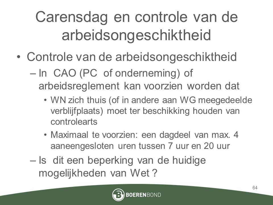 Carensdag en controle van de arbeidsongeschiktheid •Controle van de arbeidsongeschiktheid –In CAO (PC of onderneming) of arbeidsreglement kan voorzien