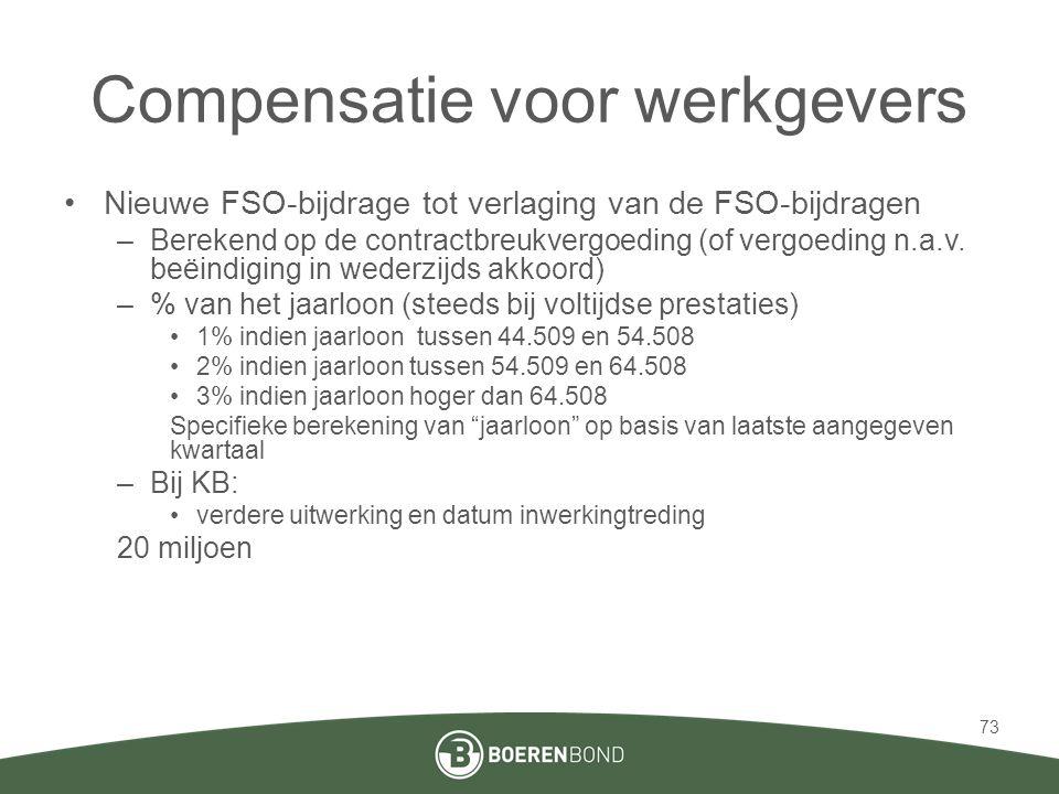 Compensatie voor werkgevers •Nieuwe FSO-bijdrage tot verlaging van de FSO-bijdragen –Berekend op de contractbreukvergoeding (of vergoeding n.a.v.