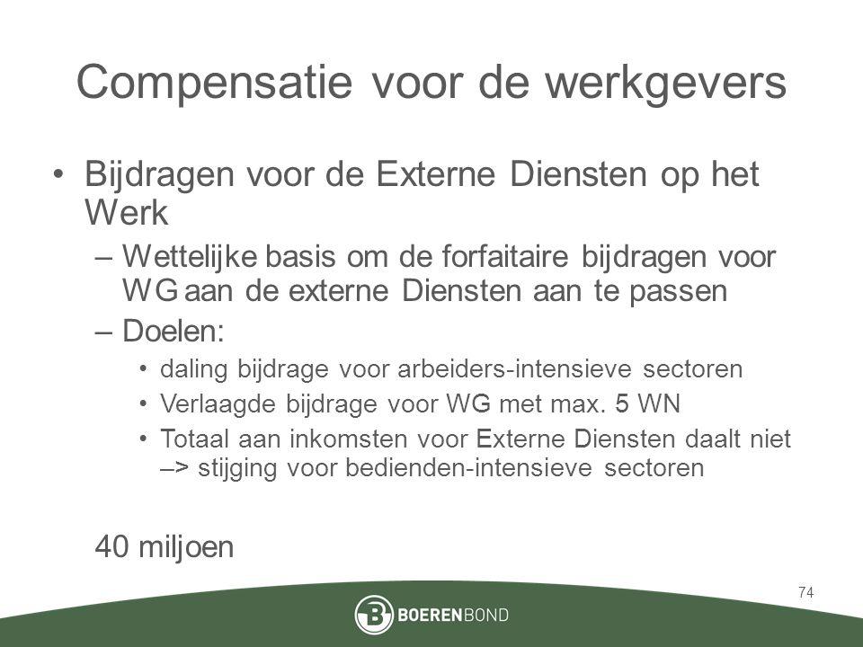 Compensatie voor de werkgevers •Bijdragen voor de Externe Diensten op het Werk –Wettelijke basis om de forfaitaire bijdragen voor WG aan de externe Diensten aan te passen –Doelen: •daling bijdrage voor arbeiders-intensieve sectoren •Verlaagde bijdrage voor WG met max.