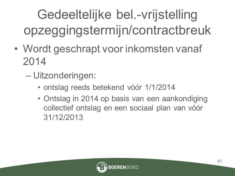 Gedeeltelijke bel.-vrijstelling opzeggingstermijn/contractbreuk •Wordt geschrapt voor inkomsten vanaf 2014 –Uitzonderingen: •ontslag reeds betekend vó