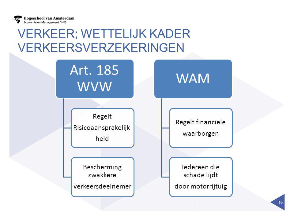 VERKEER; WETTELIJK KADER VERKEERSVERZEKERINGEN 16 Art. 185 WVW Regelt Risicoaansprakelijk- heid Bescherming zwakkere verkeersdeelnemer WAM Regelt fina