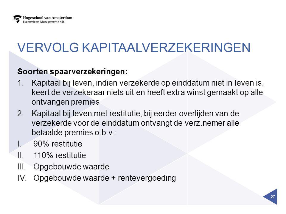 VERVOLG KAPITAALVERZEKERINGEN Soorten spaarverzekeringen: 1.Kapitaal bij leven, indien verzekerde op einddatum niet in leven is, keert de verzekeraar