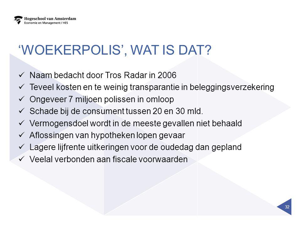 'WOEKERPOLIS', WAT IS DAT?  Naam bedacht door Tros Radar in 2006  Teveel kosten en te weinig transparantie in beleggingsverzekering  Ongeveer 7 mil