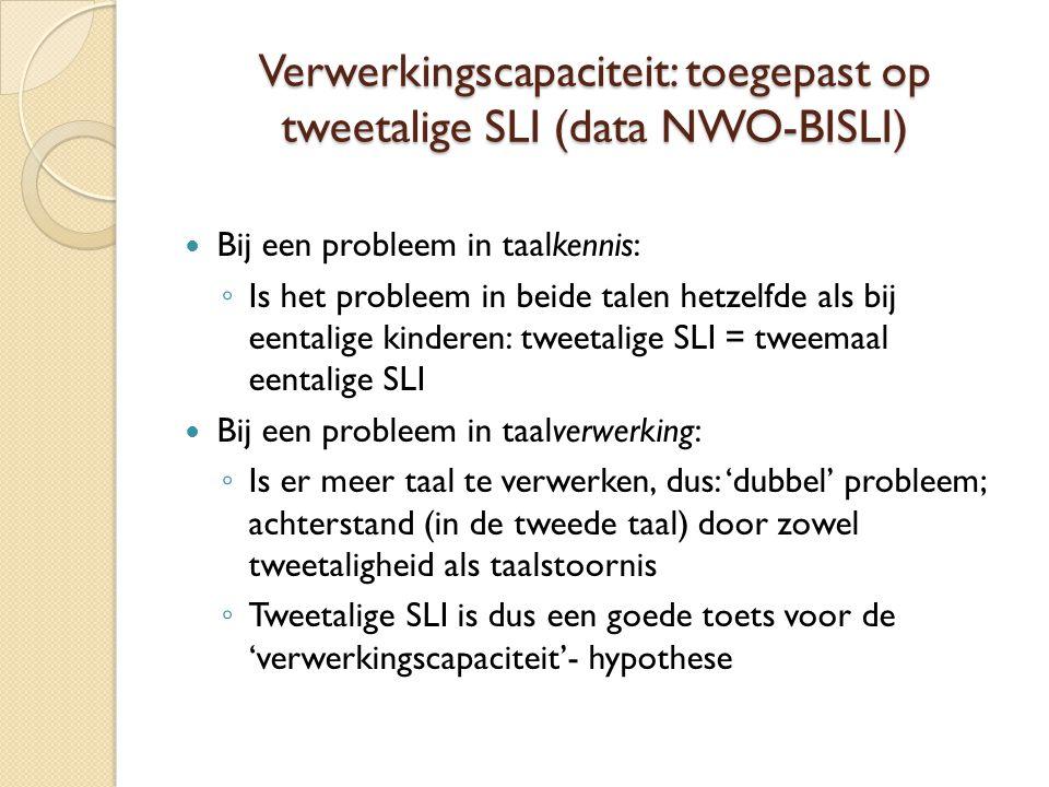 Verwerkingscapaciteit: toegepast op tweetalige SLI (data NWO-BISLI)  Bij een probleem in taalkennis: ◦ Is het probleem in beide talen hetzelfde als bij eentalige kinderen: tweetalige SLI = tweemaal eentalige SLI  Bij een probleem in taalverwerking: ◦ Is er meer taal te verwerken, dus: 'dubbel' probleem; achterstand (in de tweede taal) door zowel tweetaligheid als taalstoornis ◦ Tweetalige SLI is dus een goede toets voor de 'verwerkingscapaciteit'- hypothese