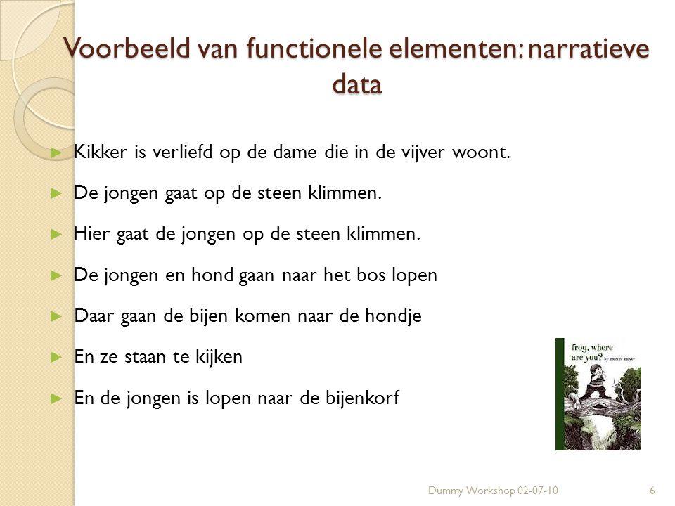 Dummy Workshop 02-07-106 Voorbeeld van functionele elementen: narratieve data ► Kikker is verliefd op de dame die in de vijver woont.
