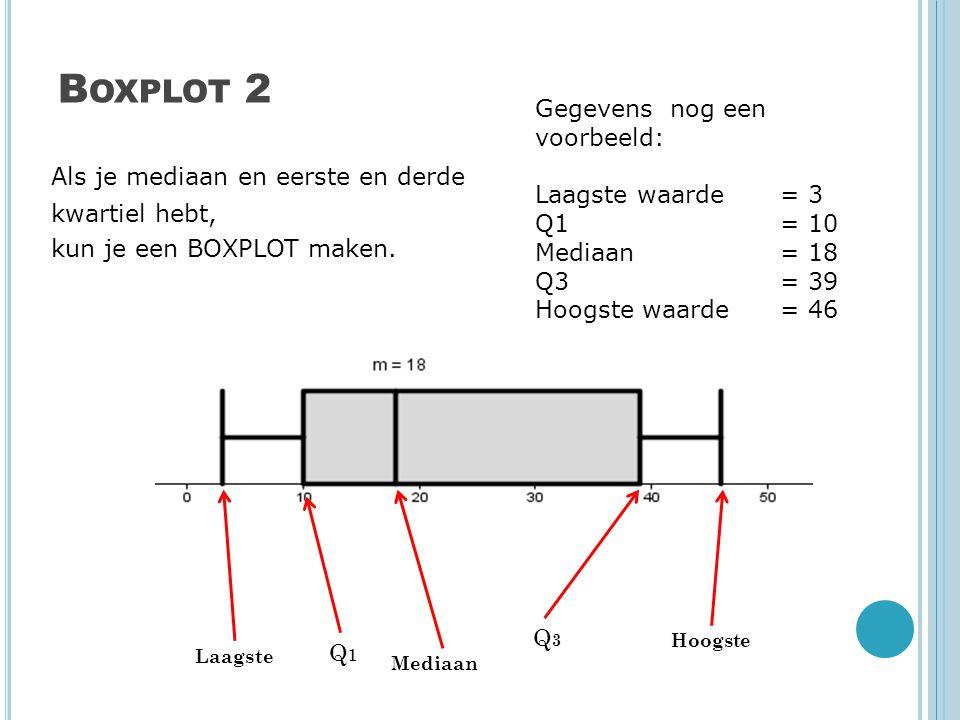 B OXPLOT 2 Als je mediaan en eerste en derde kwartiel hebt, kun je een BOXPLOT maken. Gegevens nog een voorbeeld: Laagste waarde = 3 Q1= 10 Mediaan =