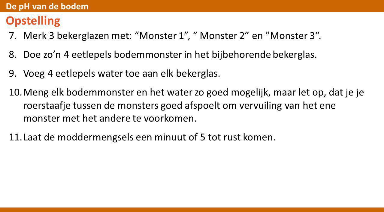 """De pH van de bodem Opstelling 7.Merk 3 bekerglazen met: """"Monster 1"""", """" Monster 2"""" en """"Monster 3"""". 8.Doe zo'n 4 eetlepels bodemmonster in het bijbehore"""