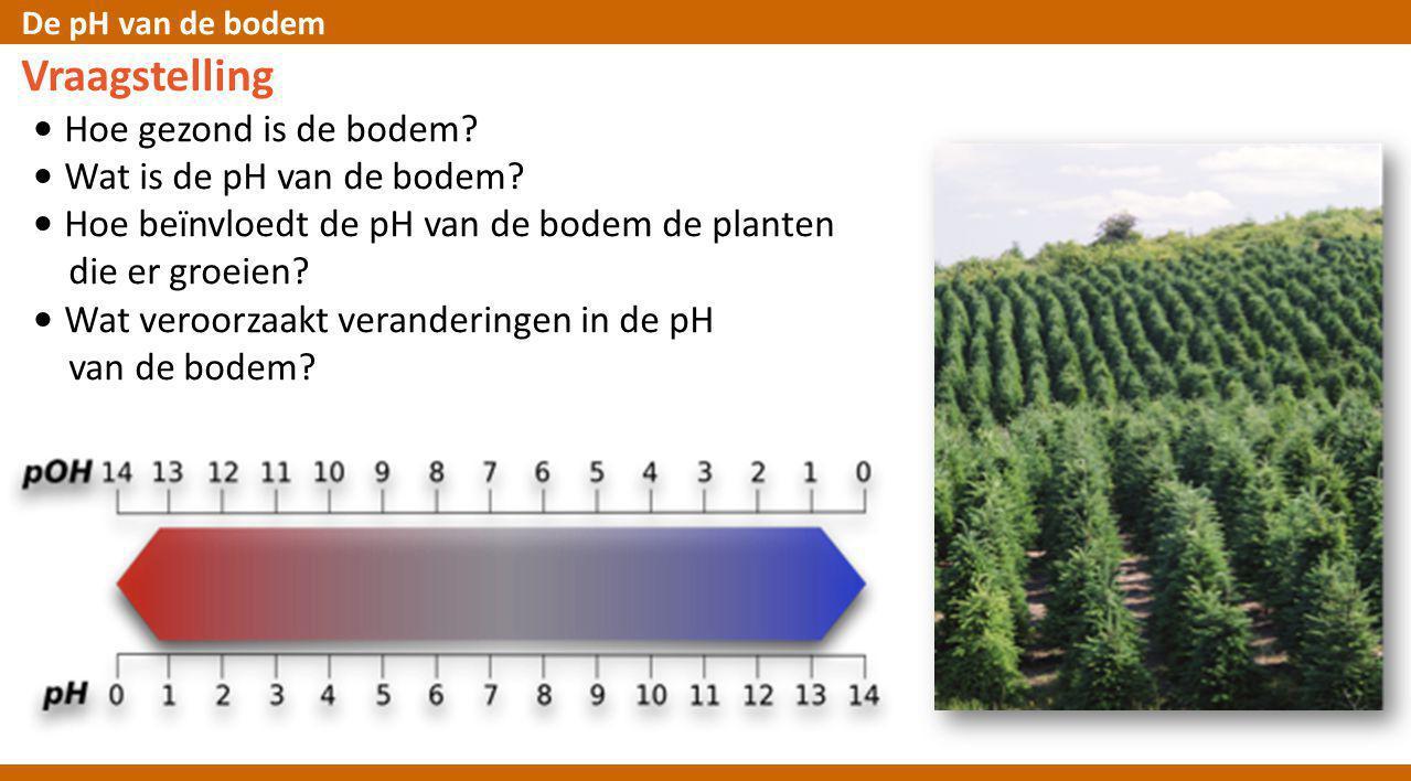 De pH van de bodem Vraagstelling • Hoe gezond is de bodem? • Wat is de pH van de bodem? • Hoe beїnvloedt de pH van de bodem de planten die er groeien?