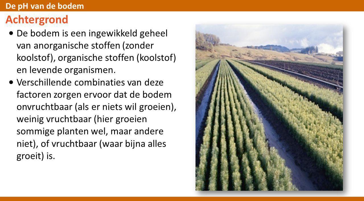 De pH van de bodem Achtergrond De bodem draagt ertoe bij dat planten groeien en heeft vele eigenschappen: • Poreus zodat water en lucht er gemakkelijk in door kunnen dringen • Veel humus (dood plantenmateriaal) dat goed vocht vasthoudt, noodzakelijk voor nieuwe plantengroei • Min of meer een neutrale pH (van pH6 tot 7.5) en kan pH veranderingen opvangen • Bevat niet teveel zout • Heeft een gezonde populatie zoals regenwormen, kevers, schimmels en bateriёn, die de dode materialen afbreken en reduceren tot de kleinste bouwstenen, die dan weer voor de plantengroei beschikbaar komen