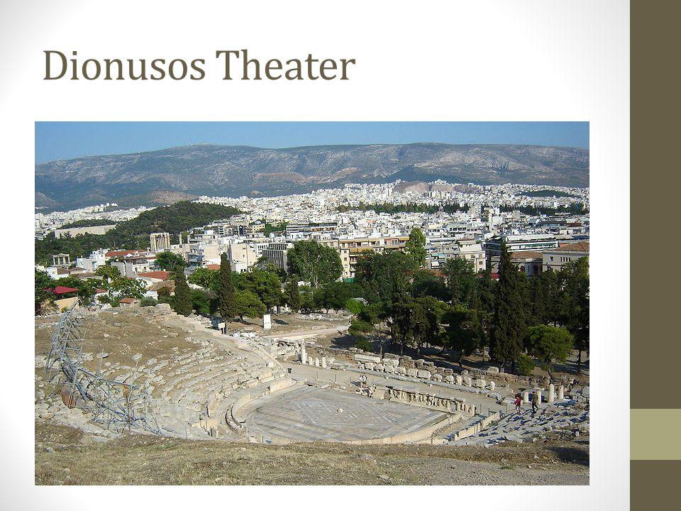 Verschillen met het hedendaags concept van toneel • Theatertechnisch week het Grieks drama op vele punten af van ons concept van een toneelvoorstelling: • Het ging om openluchtvoorstellingen die overdag doorgingen voor een massapubliek.