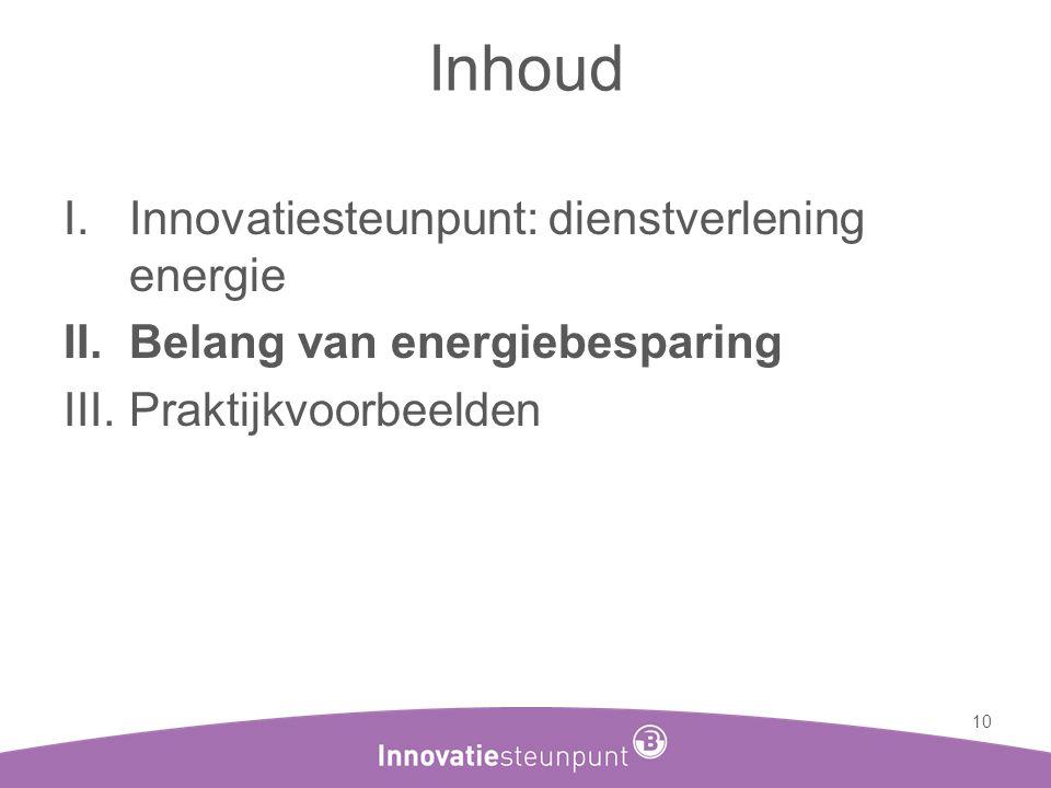 Inhoud I.Innovatiesteunpunt: dienstverlening energie II.Belang van energiebesparing III.Praktijkvoorbeelden 10