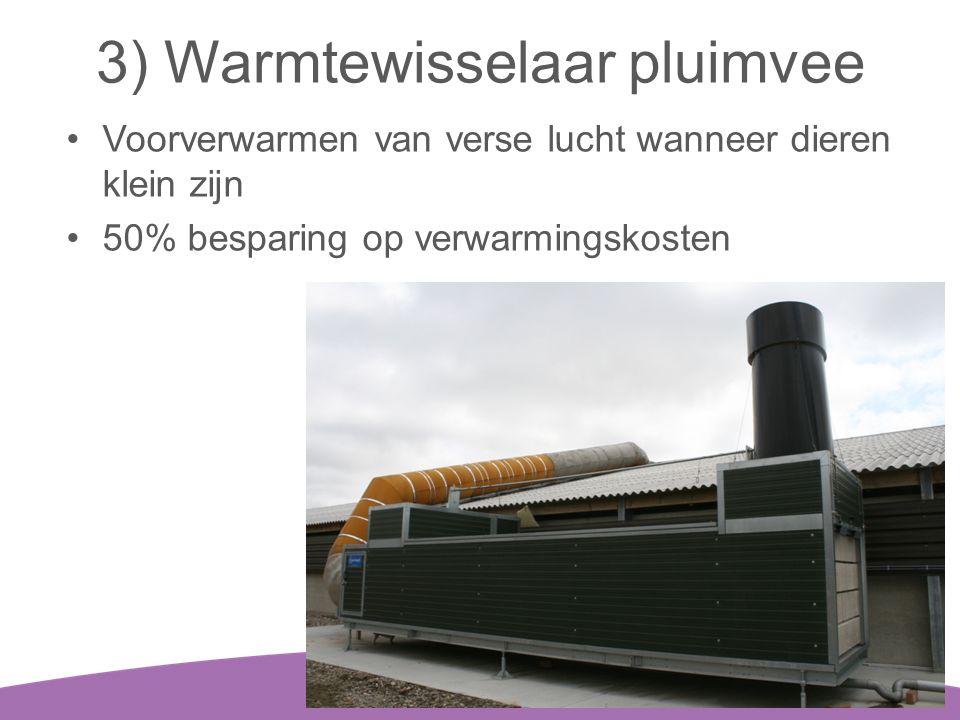 3) Warmtewisselaar pluimvee •Voorverwarmen van verse lucht wanneer dieren klein zijn •50% besparing op verwarmingskosten 18