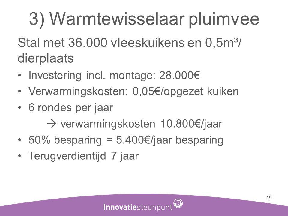 3) Warmtewisselaar pluimvee Stal met 36.000 vleeskuikens en 0,5m³/ dierplaats •Investering incl. montage: 28.000€ •Verwarmingskosten: 0,05€/opgezet ku
