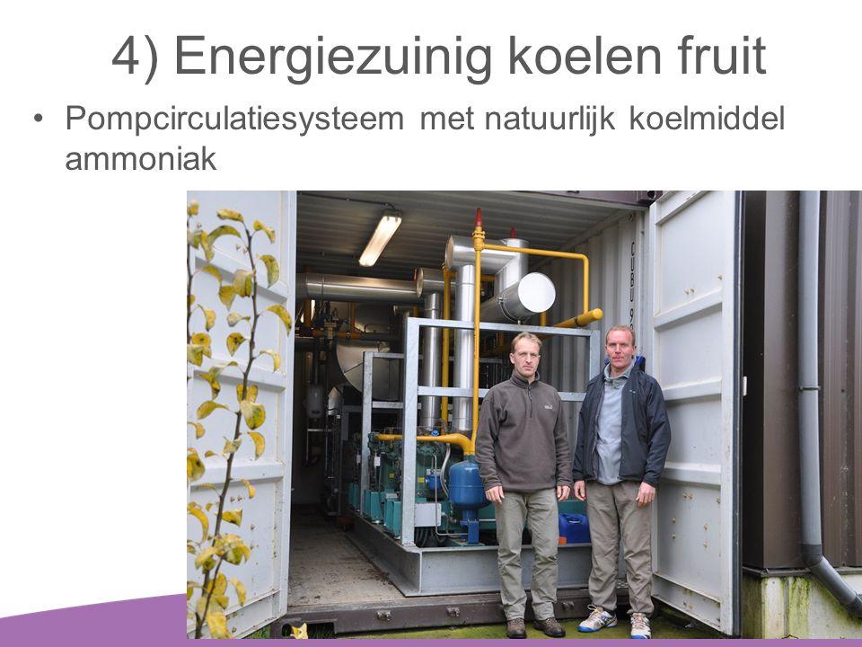4) Energiezuinig koelen fruit •Pompcirculatiesysteem met natuurlijk koelmiddel ammoniak 20