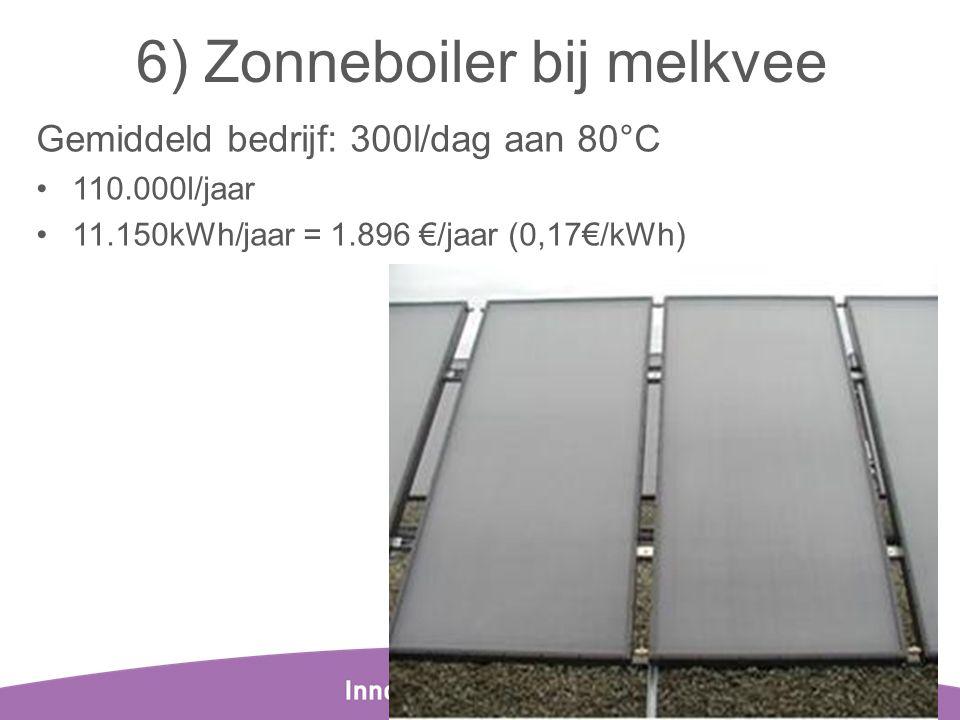 6) Zonneboiler bij melkvee Gemiddeld bedrijf: 300l/dag aan 80°C •110.000l/jaar •11.150kWh/jaar = 1.896 €/jaar (0,17€/kWh) 24