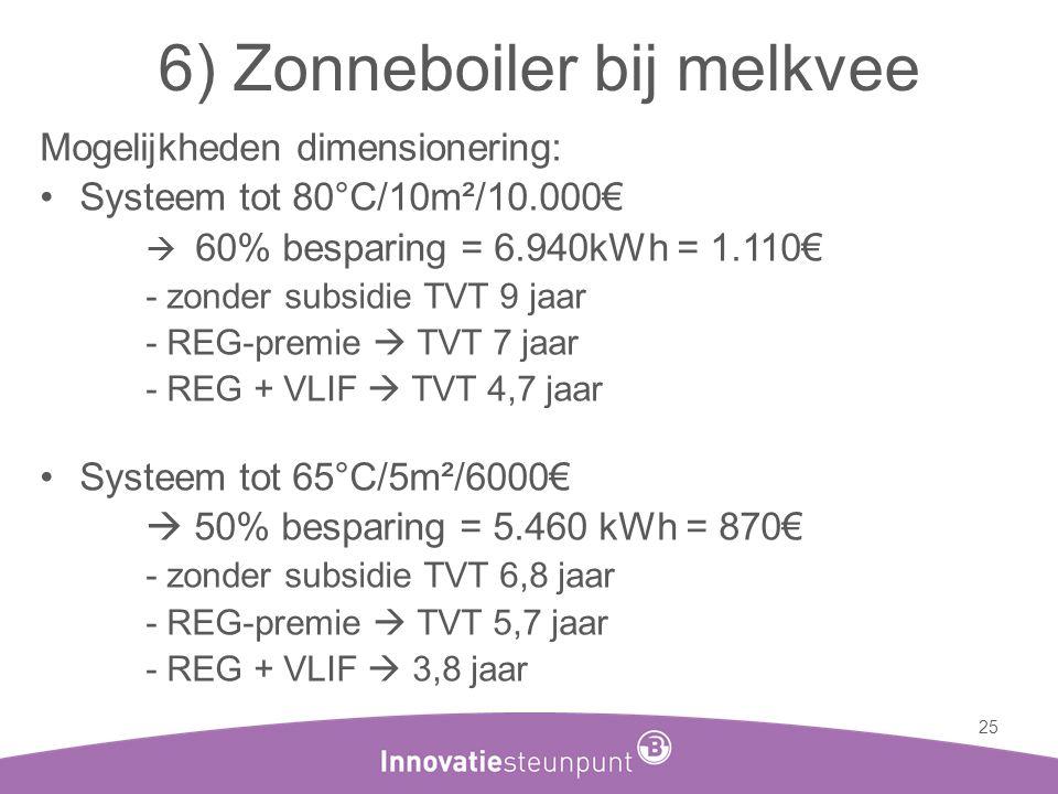 6) Zonneboiler bij melkvee Mogelijkheden dimensionering: •Systeem tot 80°C/10m²/10.000€  60% besparing = 6.940kWh = 1.110€ - zonder subsidie TVT 9 ja