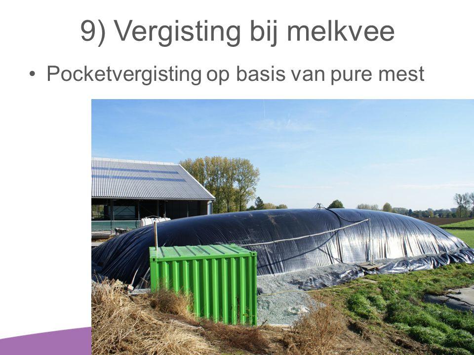 9) Vergisting bij melkvee •Pocketvergisting op basis van pure mest 30