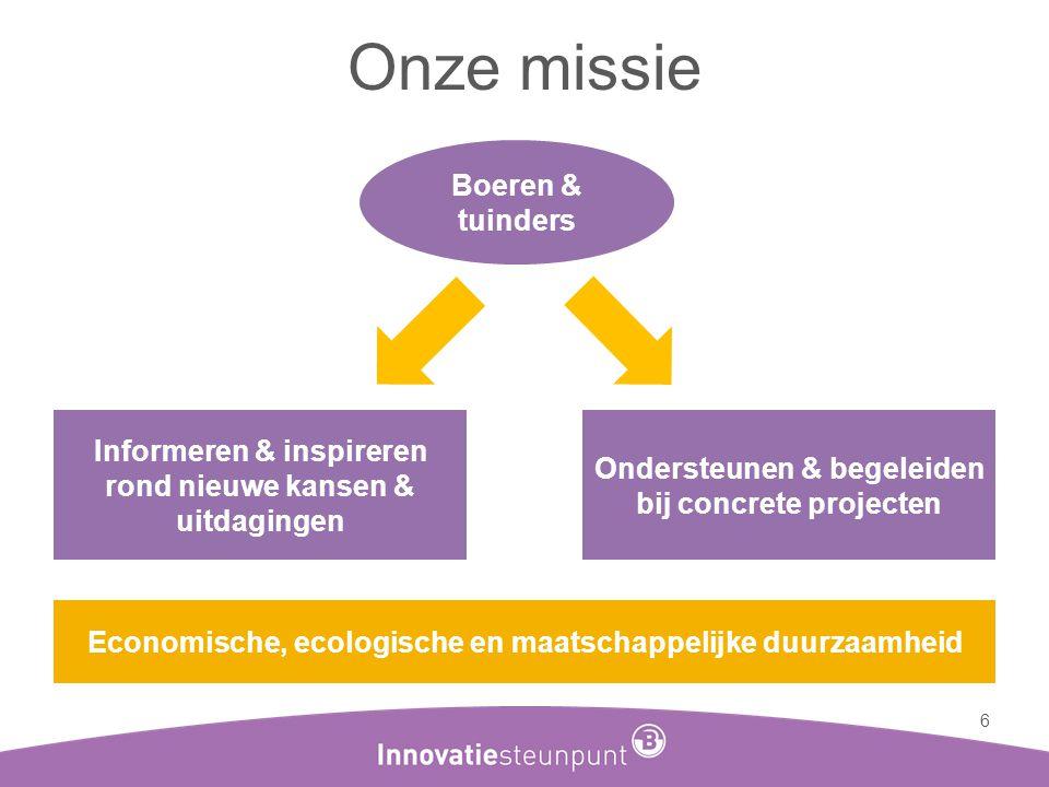 Onze missie 6 Informeren & inspireren rond nieuwe kansen & uitdagingen Ondersteunen & begeleiden bij concrete projecten Economische, ecologische en ma