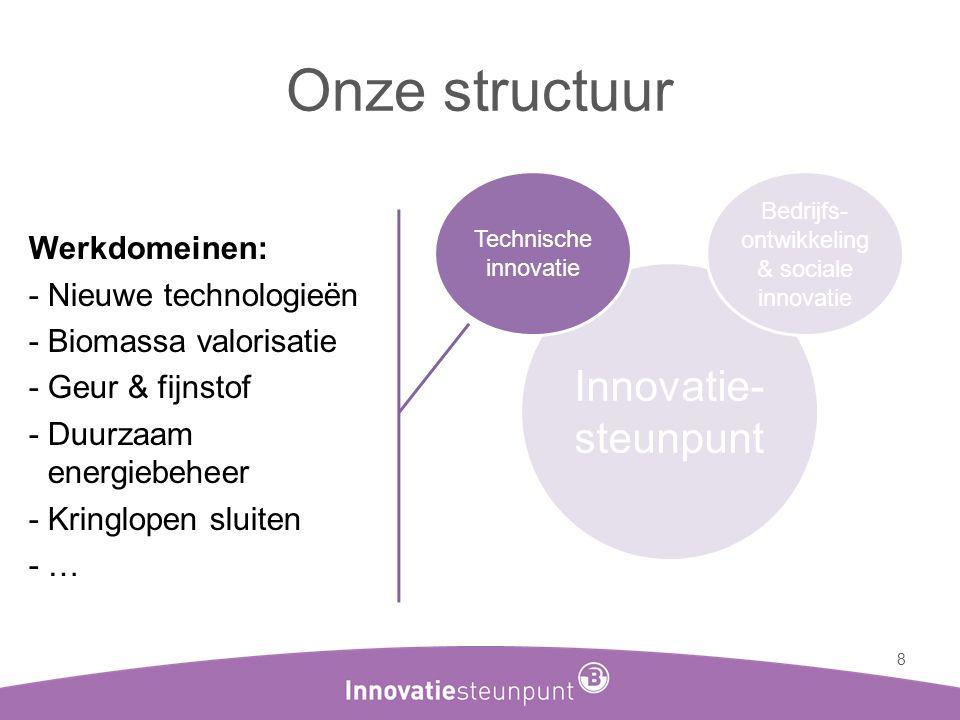 Onze structuur 8 Innovatie- steunpunt Technische innovatie Bedrijfs- ontwikkeling & sociale innovatie Werkdomeinen: -Nieuwe technologieën -Biomassa va