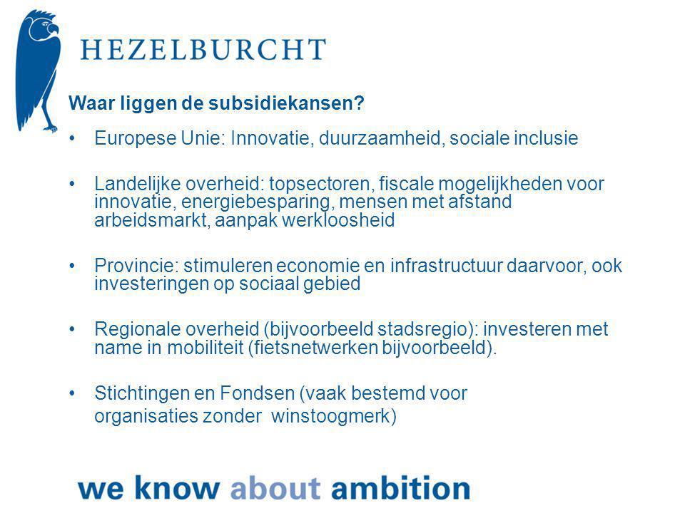Waar liggen de subsidiekansen.