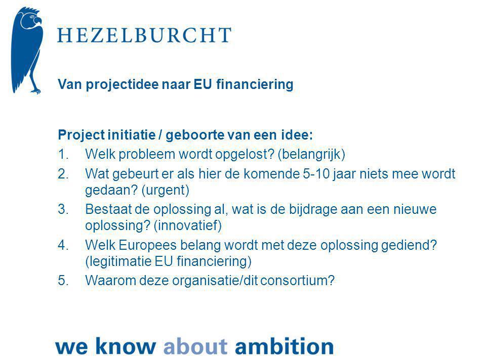 Van projectidee naar EU financiering Project initiatie / geboorte van een idee: 1.Welk probleem wordt opgelost.