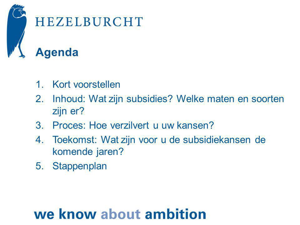 Agenda 1.Kort voorstellen 2.Inhoud: Wat zijn subsidies.