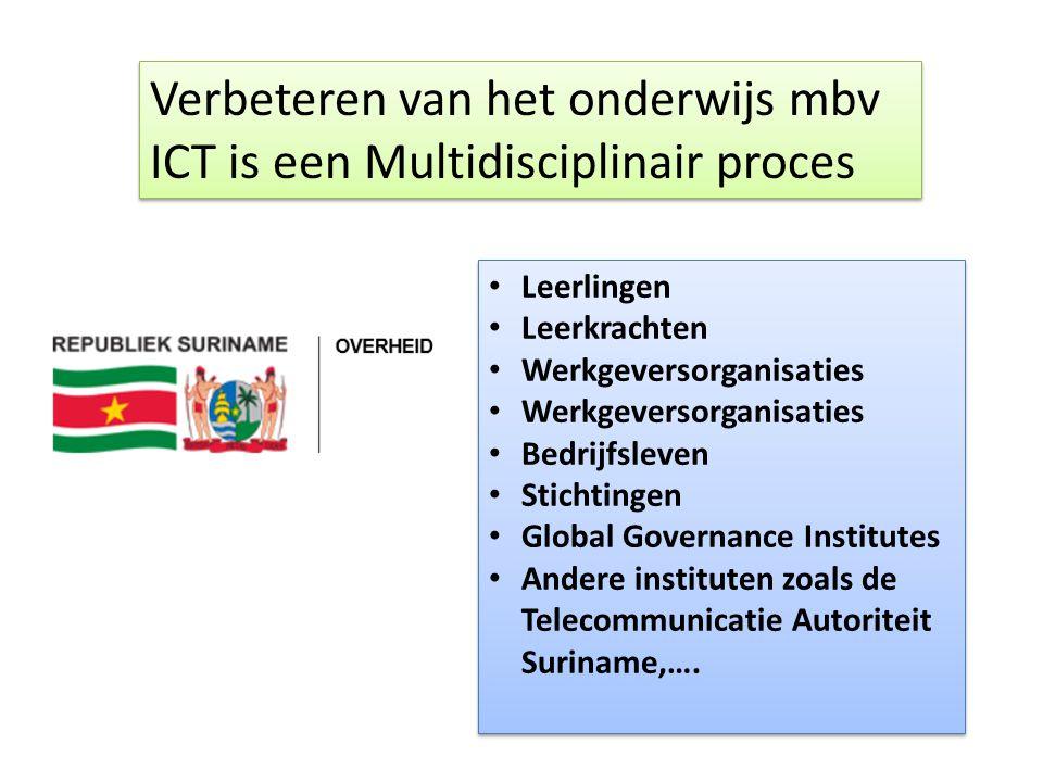 Verbeteren van het onderwijs mbv ICT is een Multidisciplinair proces • Leerlingen • Leerkrachten • Werkgeversorganisaties • Bedrijfsleven • Stichtingen • Global Governance Institutes • Andere instituten zoals de Telecommunicatie Autoriteit Suriname,….