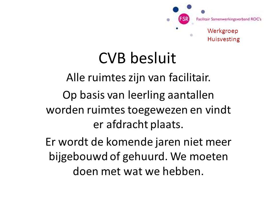 CVB besluit Alle ruimtes zijn van facilitair. Op basis van leerling aantallen worden ruimtes toegewezen en vindt er afdracht plaats. Er wordt de komen