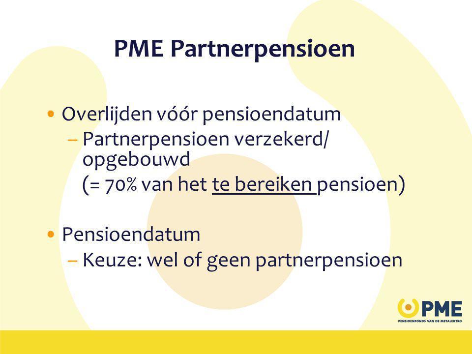PME Partnerpensioen •Overlijden vóór pensioendatum –Partnerpensioen verzekerd/ opgebouwd (= 70% van het te bereiken pensioen) •Pensioendatum –Keuze: wel of geen partnerpensioen