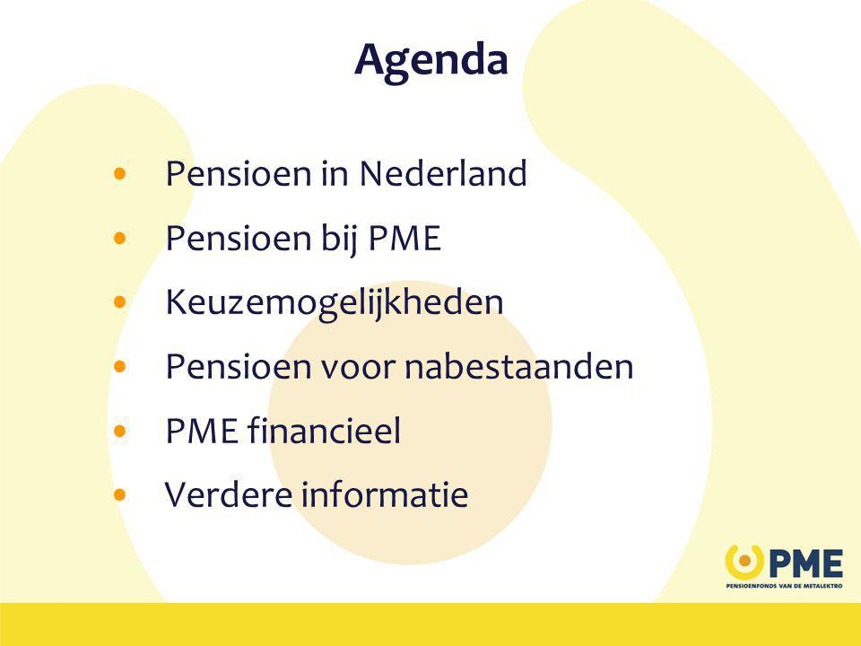 Agenda •Pensioen in Nederland •Pensioen bij PME •Keuzemogelijkheden •Pensioen voor nabestaanden •PME financieel •Verdere informatie
