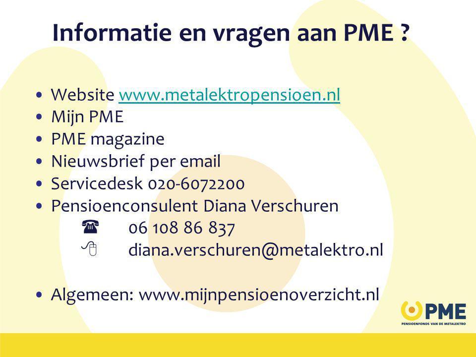 Informatie en vragen aan PME .